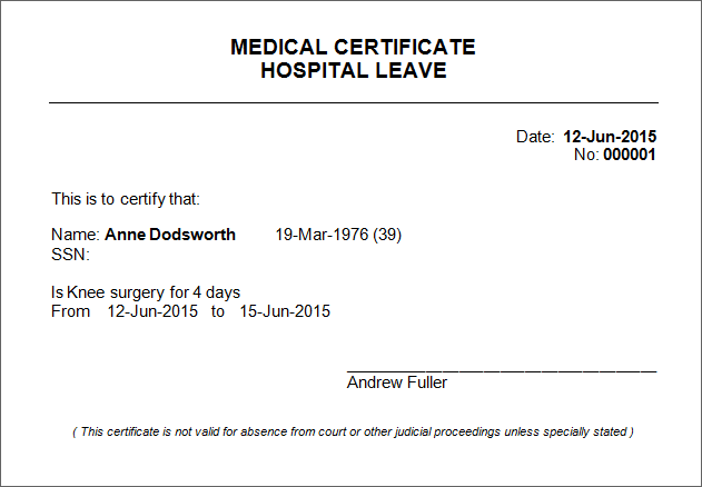 Patient Manager – Medical Certificate